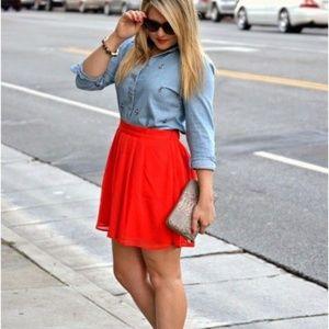NEW! Red Chiffon Overlay Skirt